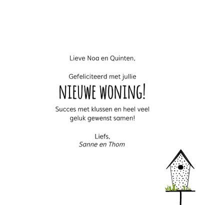 Felicitatiekaart voor een nieuwe woning met vogelhuisjes 3
