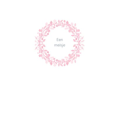 Felicitatiekaart voor geboorte met roze krans 2