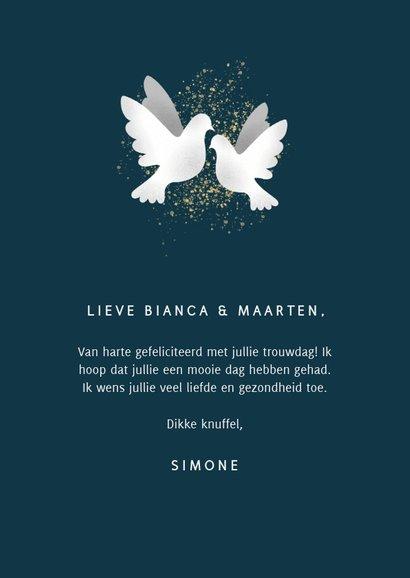 Felicitatiekaart voor huwelijk met witte duiven en spetters 3