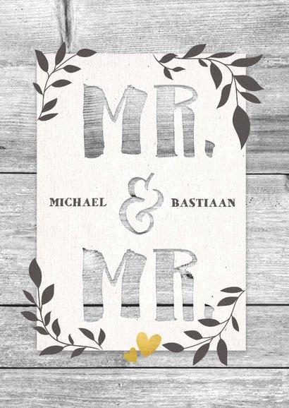 Felicitatiekaart voor huwelijk Mr. & Mr. hout en plantjes 2
