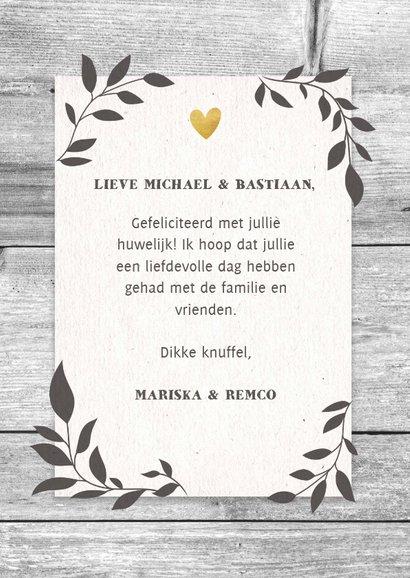 Felicitatiekaart voor huwelijk Mr. & Mr. hout en plantjes 3