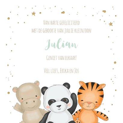 Felicitatiekaart voor kleinzoon met drie safari diertjes 3