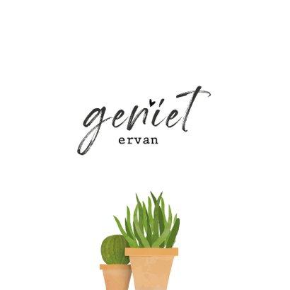 Felicitatiekaart voor nieuwe woning met cactus / planten 2