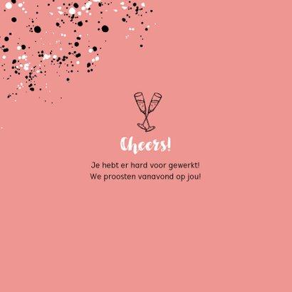 Felicitatiekaart vrouw pensioen spetters champagne roze 2
