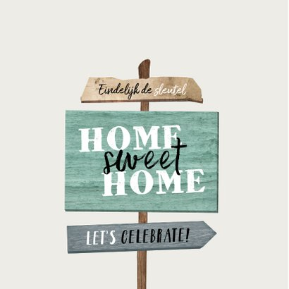 felicitatiekaart wegwijzers nieuwe woning hout sleutel 2