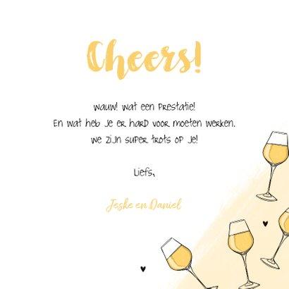 Felicitatiekaart witte wijn cheers algemeen 3
