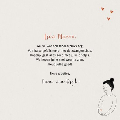 Felicitatiekaart zwanger a little baby on the way hartjes 3