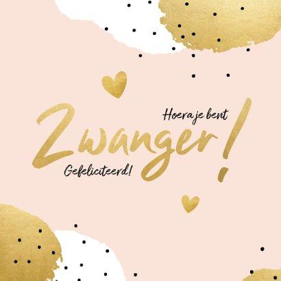 Felicitatiekaart 'Zwanger!' met stippen en hartjes 2