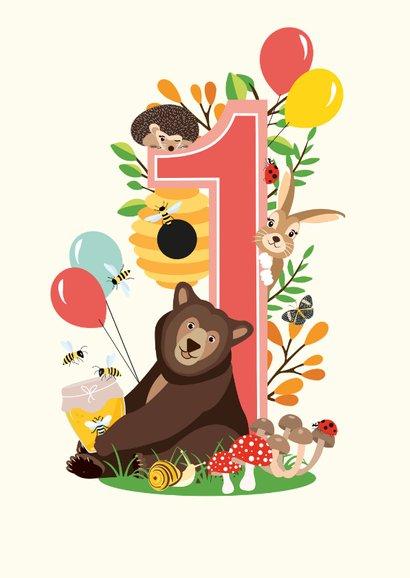 Felicitatiekaartje 1 jaar met vrolijke bosdieren in roze 2