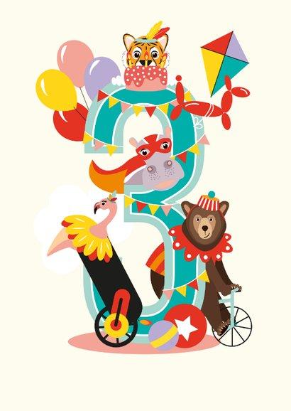 Felicitatiekaartje 3 jaar met vrolijke circusdieren  2