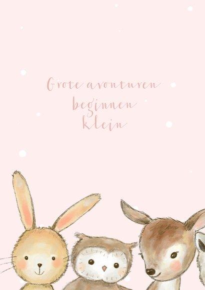 Felicitatiekaartje bosdieren met confetti geboorte meisje  2
