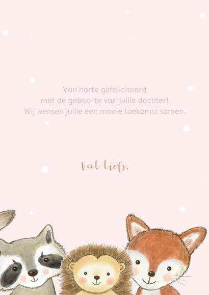 Felicitatiekaartje bosdieren met confetti geboorte meisje  3