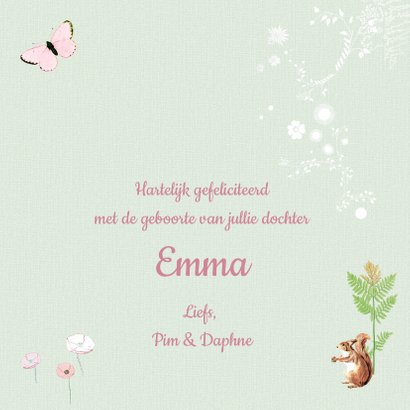 Felicitatiekaartje geboorte hertje met naam 3
