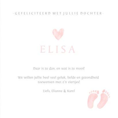 Felicitatiekaartje geboorte meisje met roze babyvoetjes 3