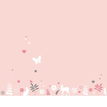 Felicitatiekaartje meisje botanische cirkel met dieren 2