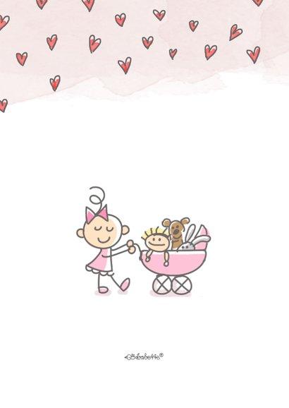 Felicitatiekaartje met meisje en kinderwagen met poppen 2