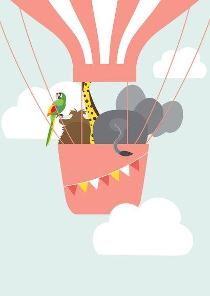 Felicitatiekaartje met vrolijke dieren in een luchtballon 2