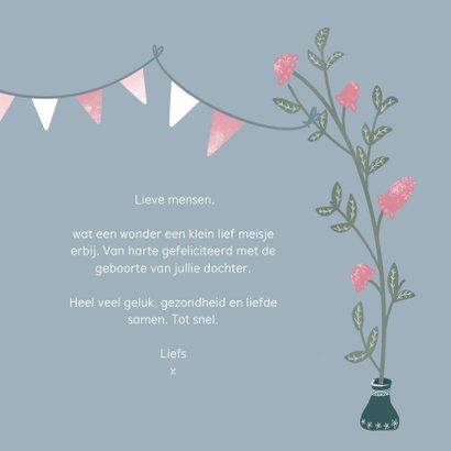 Felicitatiekaartje wieg en bloemen geboorte 3