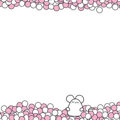 Felicitiekaart roze muisjes 2