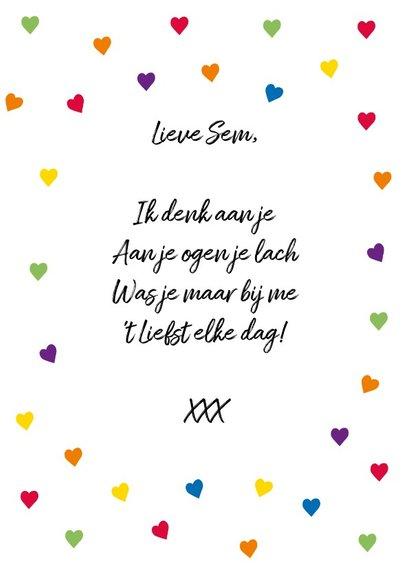 Fijne Valentijnsdag met alle kleuren  hartjes en eigen naam 3