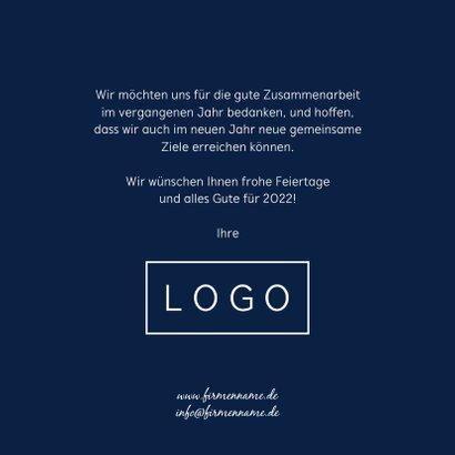 Firmen-Weihnachtskarte in Dunkelblau mit 2022 3