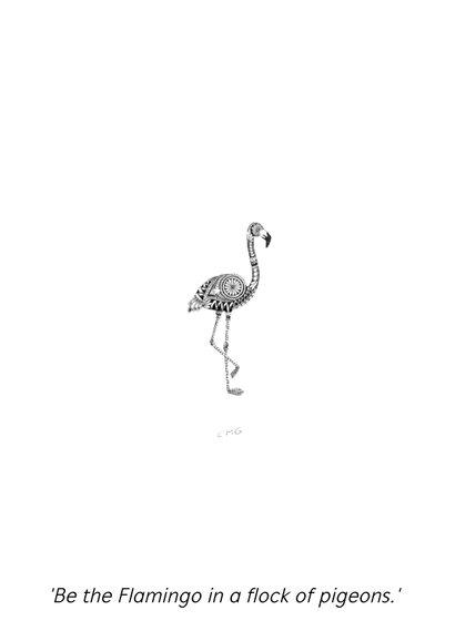 Flamingo zwart/wit illustratie 2