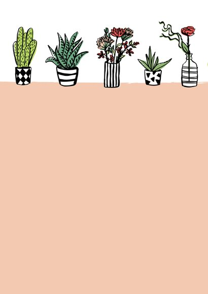 Fleurige kaart cactussen en bloemen 2