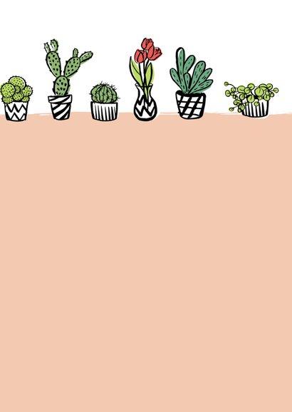 Fleurige kaart cactussen en bloemen 3