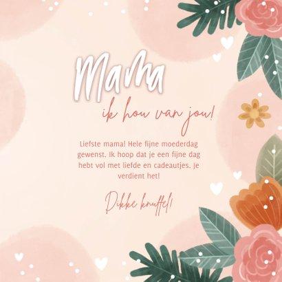 Fleurige moederdag kaart met bloemen en hartjes 3