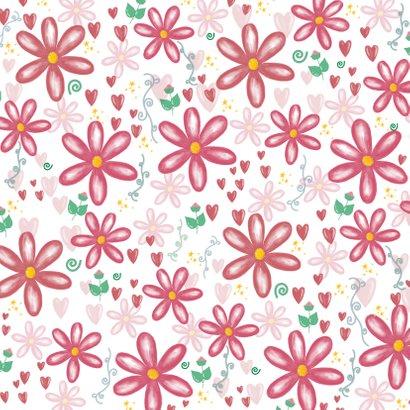 Fleurige moederdagkaart bloemen hartjes en je eigen foto 2