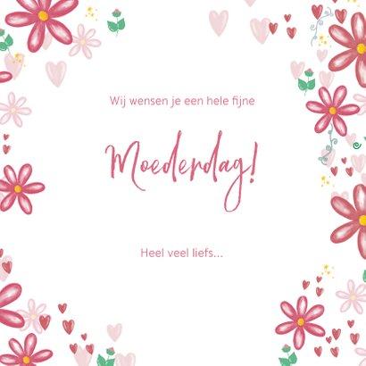 Fleurige moederdagkaart bloemen hartjes en je eigen foto 3