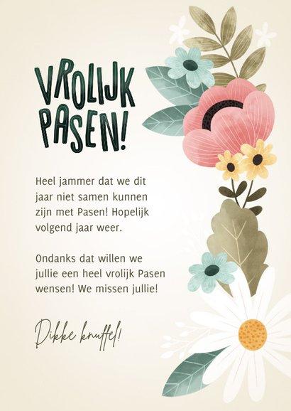 Fleurige paaskaart bloemen, bladeren, takjes Vrolijk Pasen! 3