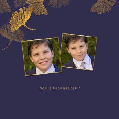 Foto bedankkaart communie ginkgo blauw 2