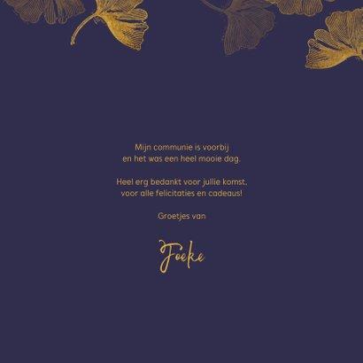 Foto bedankkaart communie ginkgo blauw 3