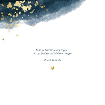 Foto-Einladungskarte Taufe Aquarell dunkelblau 2