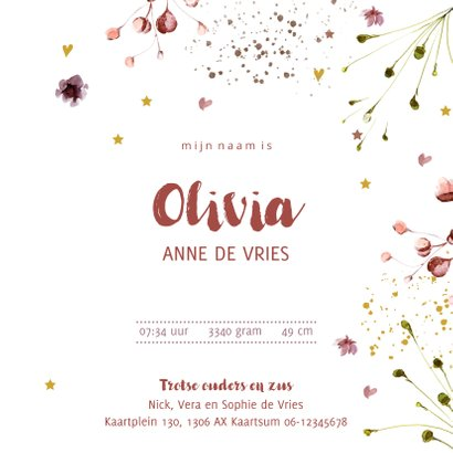 Foto geboortekaartje bloemen weelde voor meisje 3