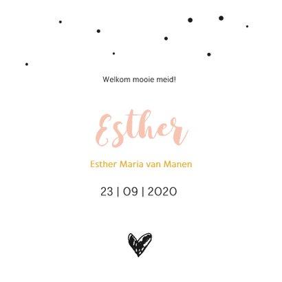 Foto geboortekaartje met stipjes en hart 3