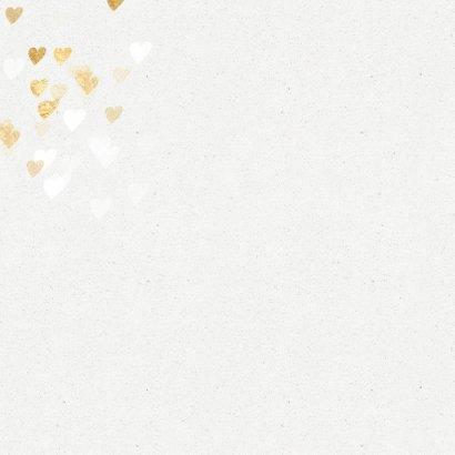 Foto kerstkaart gouden hartjes en sneeuw 2