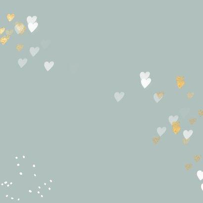 Foto kerstkaart gouden hartjes en sneeuw Achterkant