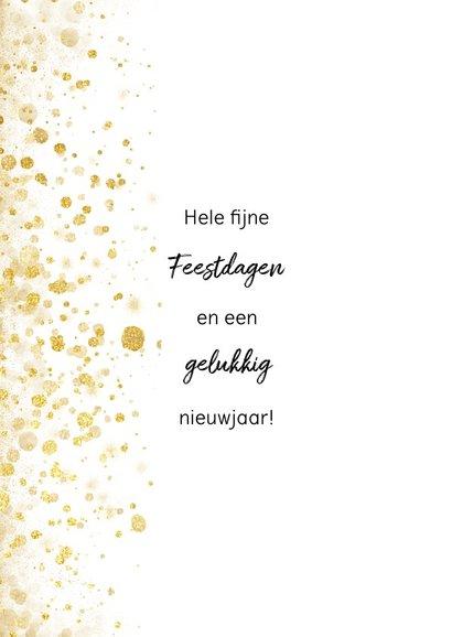 Foto kerstkaart met gouden confetti en typografie 2