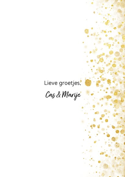 Foto kerstkaart met gouden confetti en typografie 3
