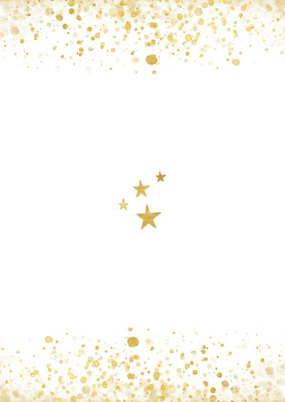 Foto kerstkaart met gouden confetti en typografie Achterkant
