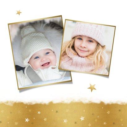 Foto kerstkaart met goudlook fijne feestdagen en sterretjes 2