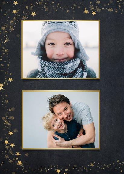 Foto nieuwjaarskaart zwart met gouden ster en 1 grote foto 2