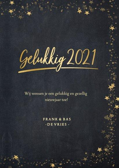 Foto nieuwjaarskaart zwart met gouden ster en 1 grote foto 3