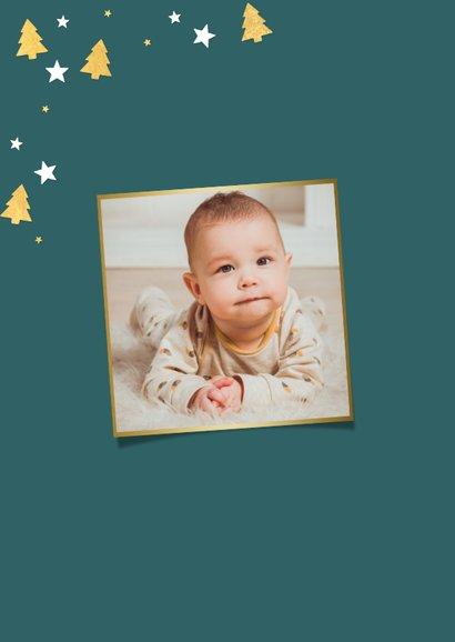 Foto-Weihnachtskarte mit Rahmen aus Sternen und Tannenbäumen 2