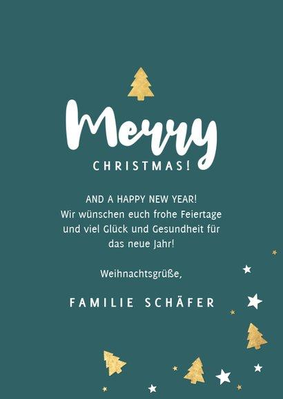 Foto-Weihnachtskarte mit Rahmen aus Sternen und Tannenbäumen 3