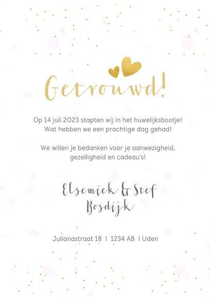 Fotocollage bedankkaartje trouwen met 3 foto's en confetti 3
