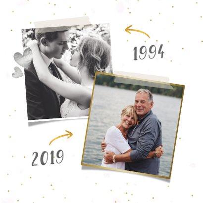 Fotocollage huwelijksjubileum kaart met zilveren 25 ballon 2