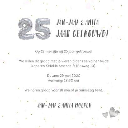 Fotocollage huwelijksjubileum kaart met zilveren 25 ballon 3